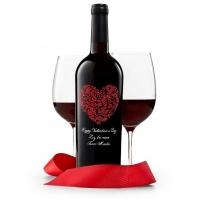 Red Romance Engraved Wine Bottle